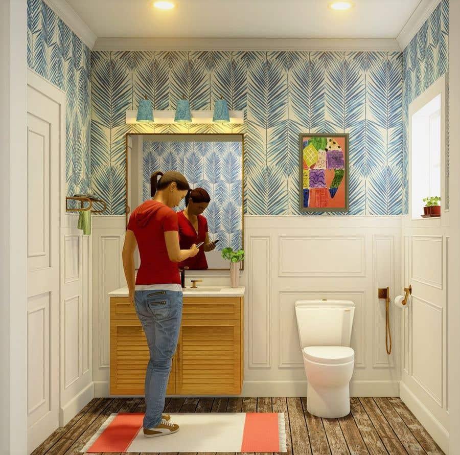 Bài tham dự cuộc thi #                                        22                                      cho                                         Half bath interior design in 3d - coastal transitional design style