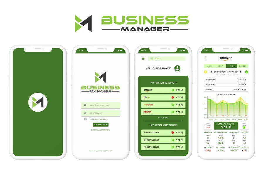 Kilpailutyö #                                        31                                      kilpailussa                                         UI & UX Custom Design for App (Business Manager ERP System)