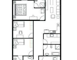 #12 for Interior living space remodel (basic - layout concepts only, detailed plans to be commisioned seperately) af mohamadbesher