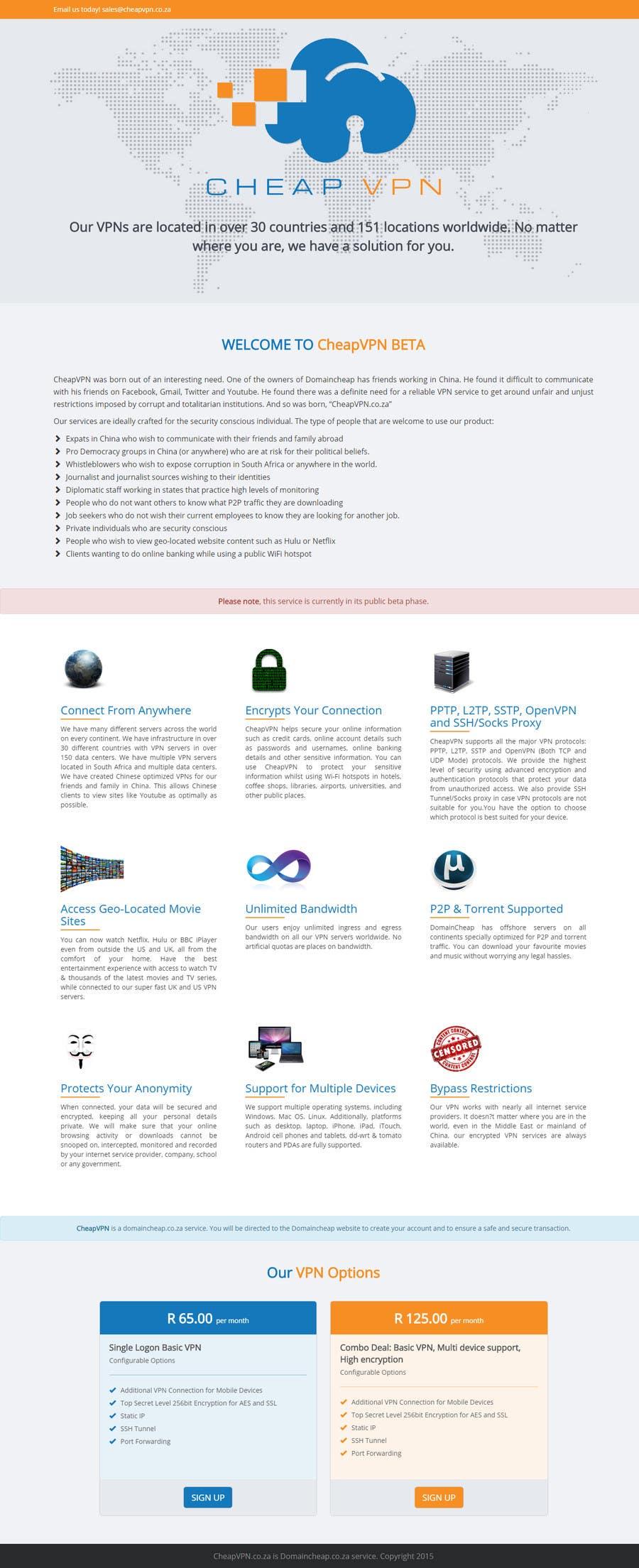 Bài tham dự cuộc thi #9 cho Create a Wordpress Template for cheapvpn.co.za