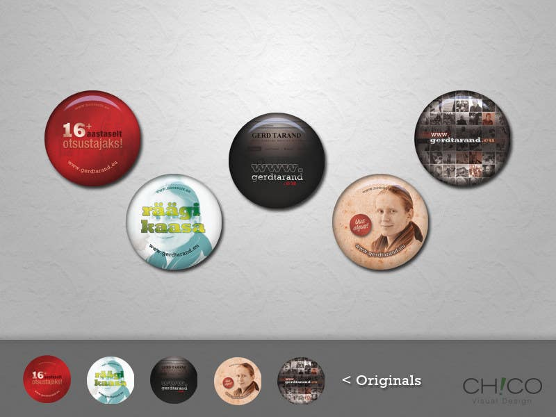 Entri Kontes #                                        14                                      untuk                                        5 Button Badge designs for a Personal/Political Blog