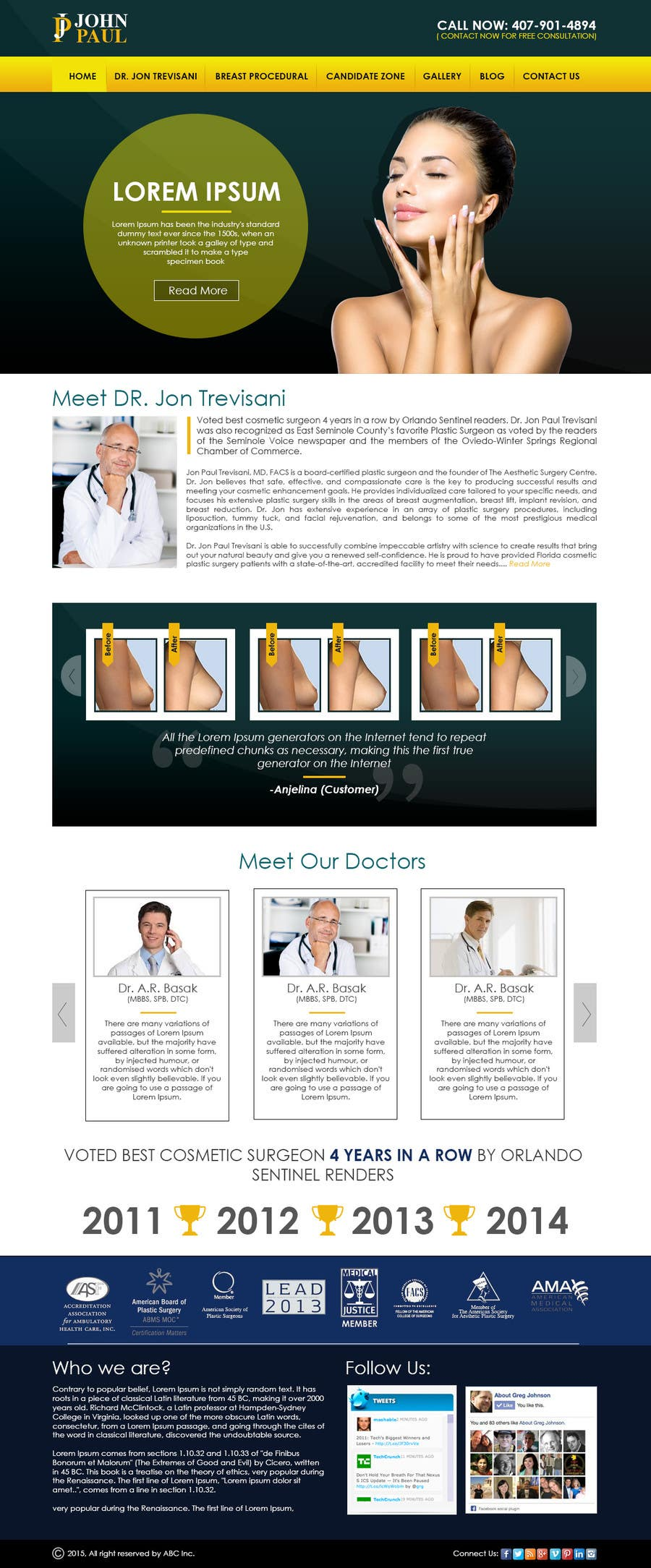 Contest Entry #                                        25                                      for                                         Design a Website Mockup for aesthetic surgery
