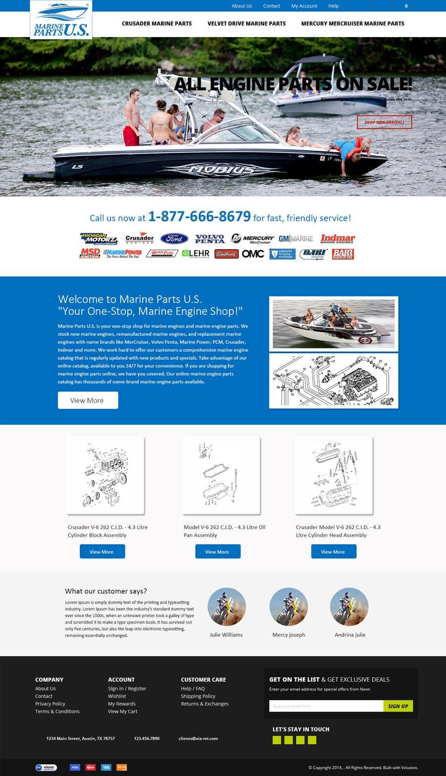 Inscrição nº 8 do Concurso para Design a Website Mockup for Marine Parts U.S.