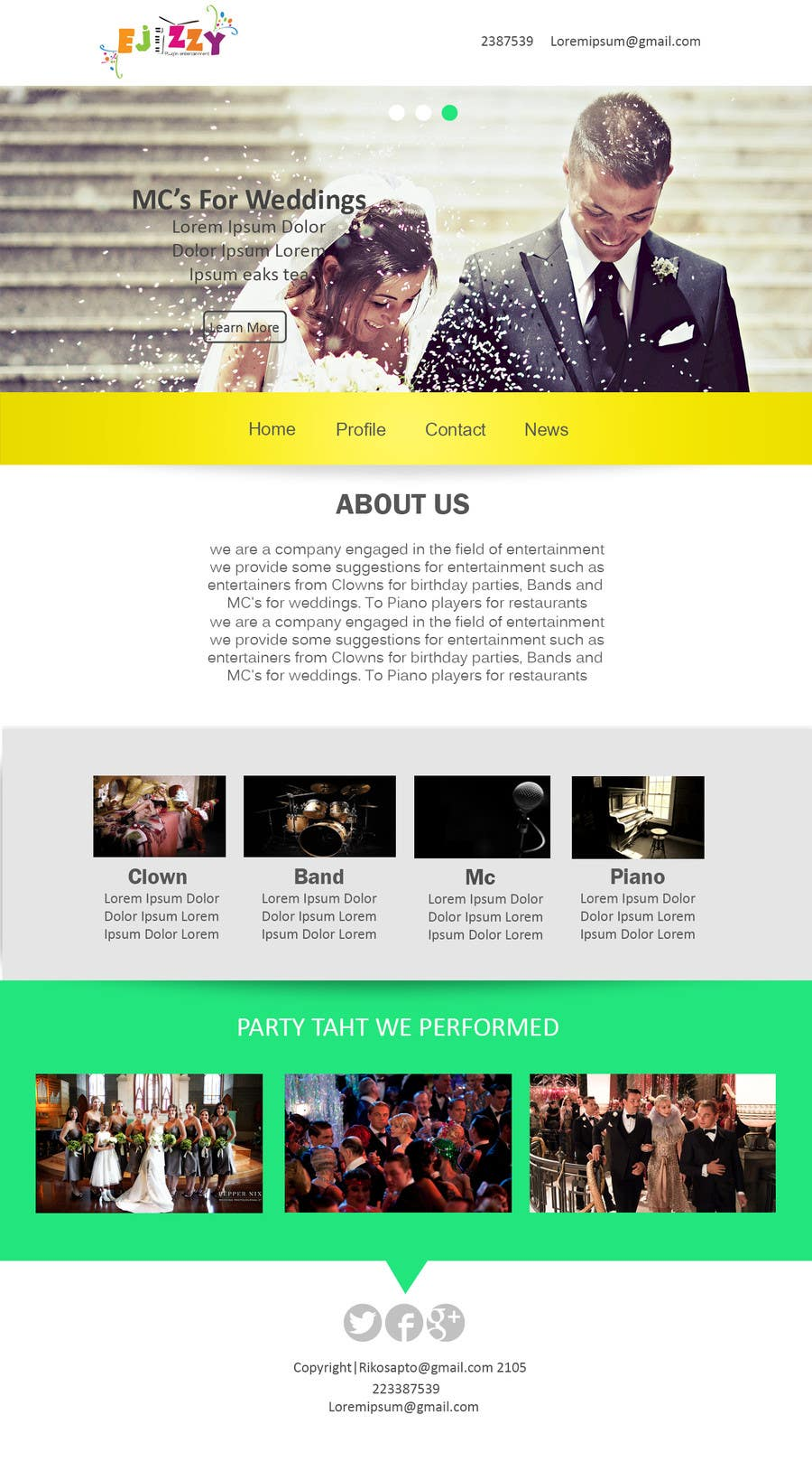 Contest Entry #                                        16                                      for                                         Design a Website Mockup for Entertainment Industry
