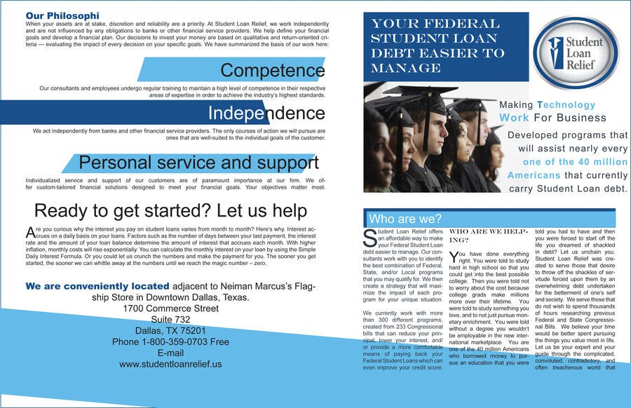 Bài tham dự cuộc thi #                                        51                                      cho                                         Create a Brochure Student Loan Relief, Inc