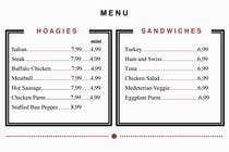 Graphic Design Contest Entry #7 for I need some Graphic Design for Hoagie Menu layout
