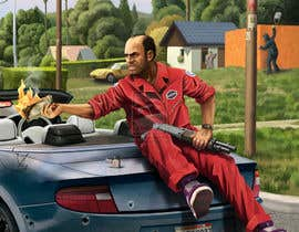 "#1 untuk Illustrate a provided character in ""Grand Theft Auto V""  poster style. oleh markowaheeb"