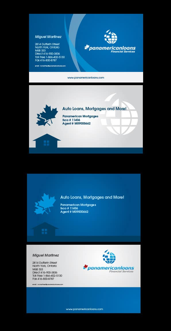 #15 for Design some Business Cards for Panamerican Loans by paxslg