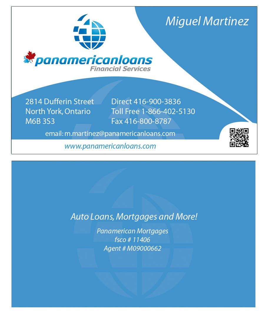 #52 for Design some Business Cards for Panamerican Loans by holecreative