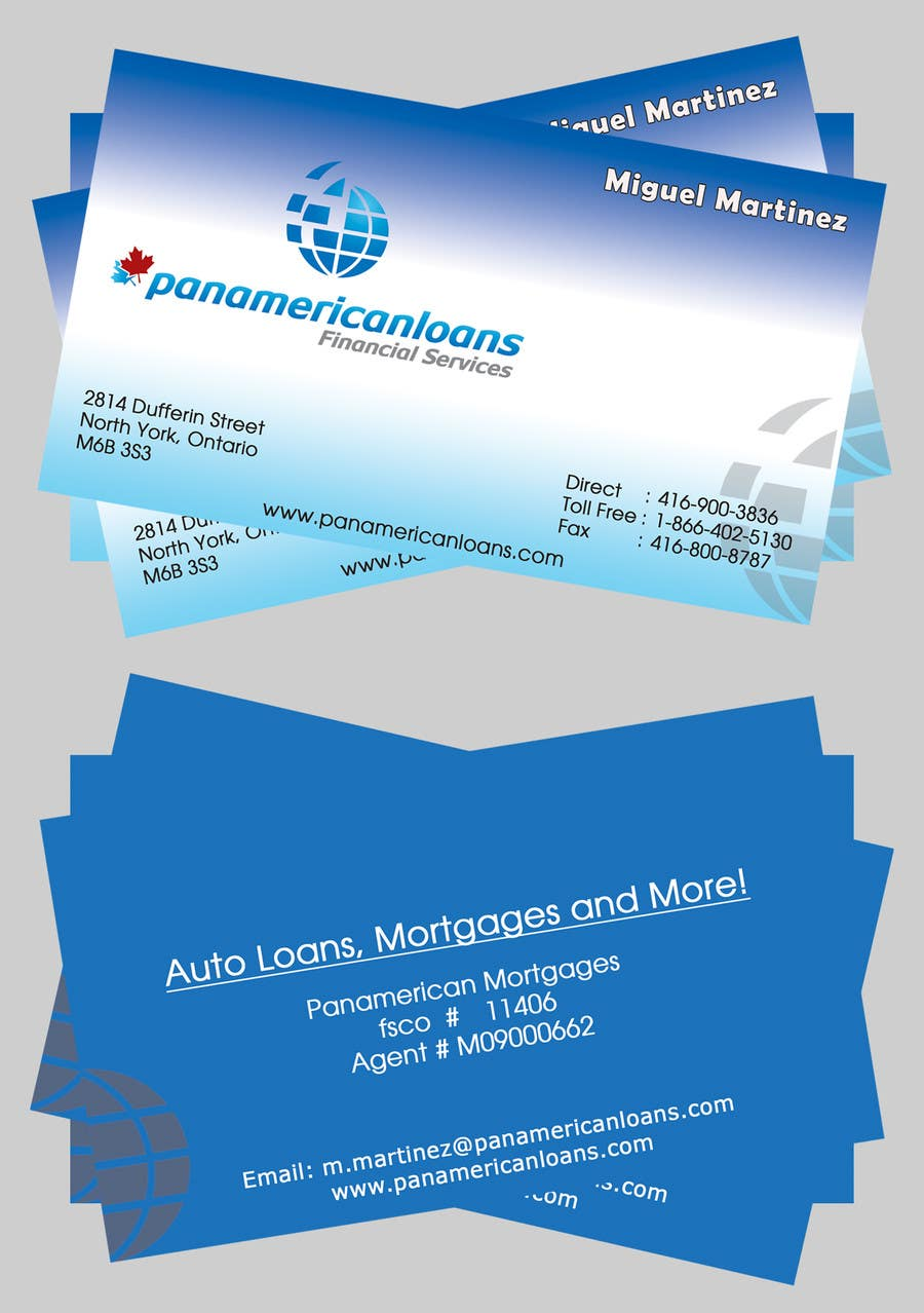 #23 for Design some Business Cards for Panamerican Loans by hatimprinting52