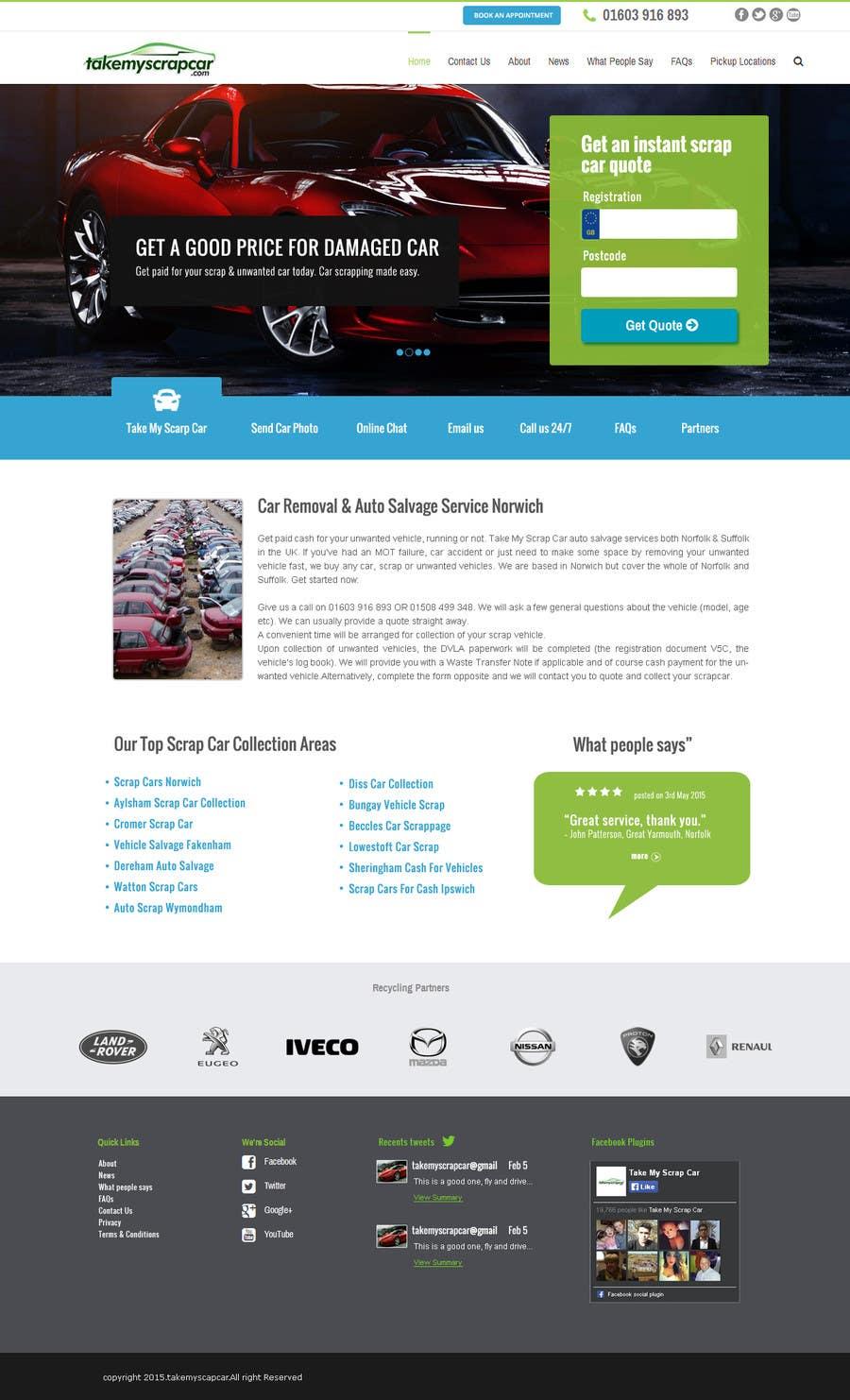 Konkurrenceindlæg #70 for Design a Website Mockup for www.takemyscrapcar.com