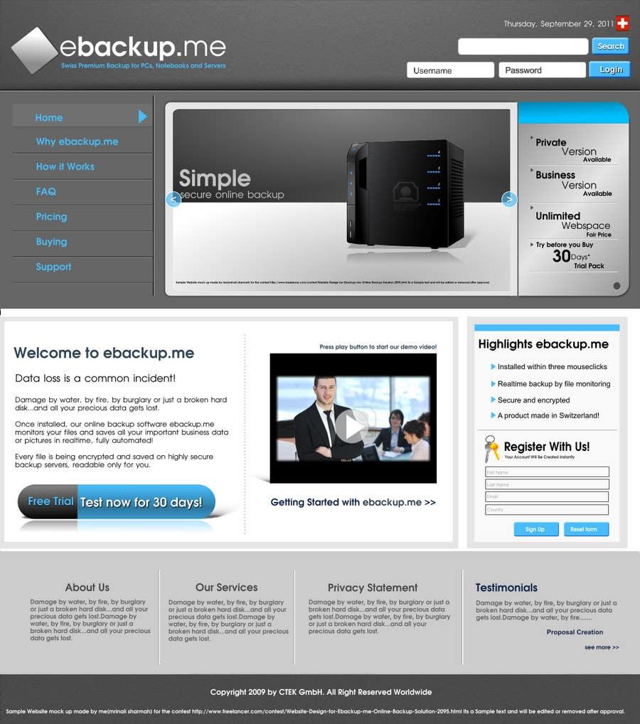 Contest Entry #                                        21                                      for                                         Website Design for Ebackup.me Online Backup Solution