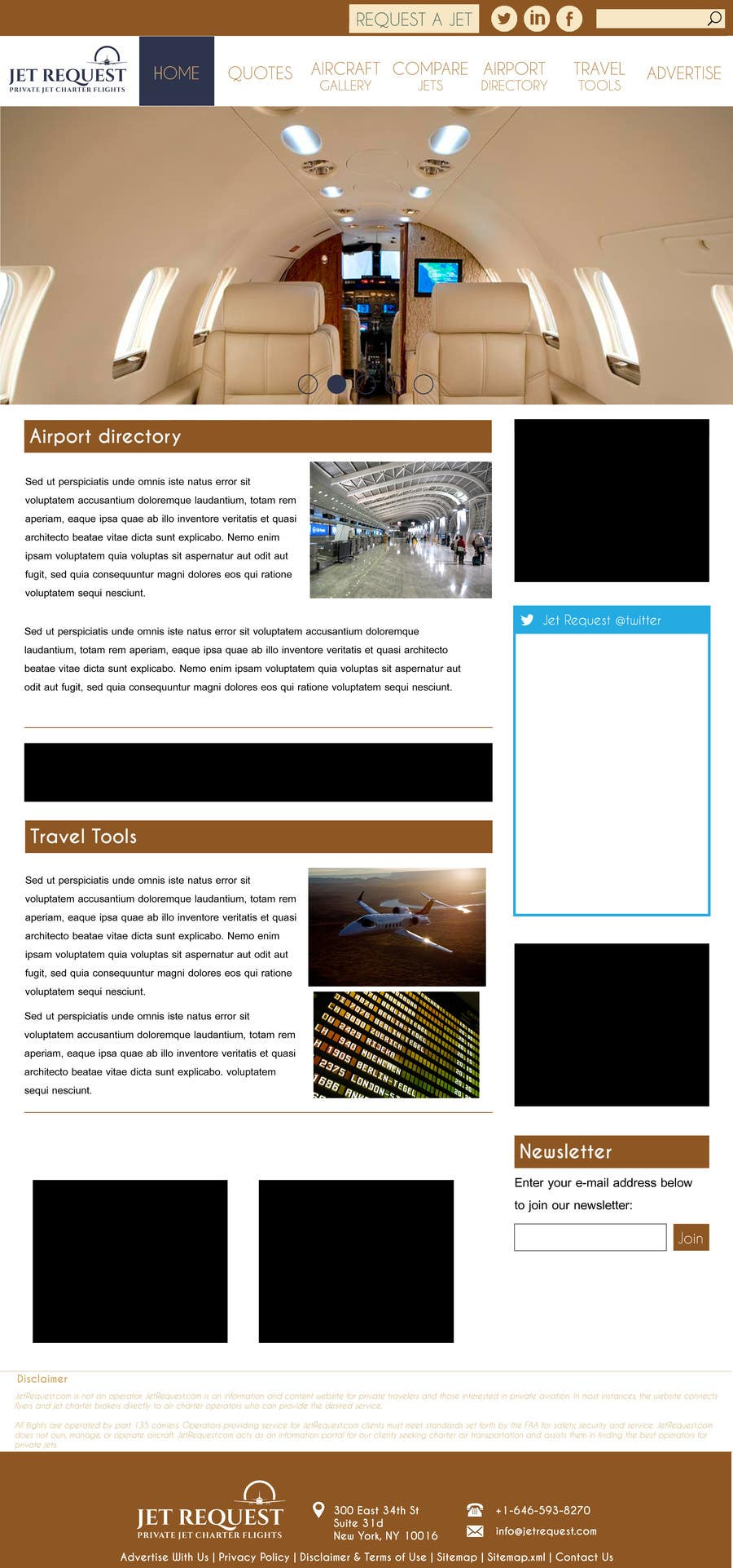 Konkurrenceindlæg #                                        38                                      for                                         Design a Website Mockup for Private Jet company