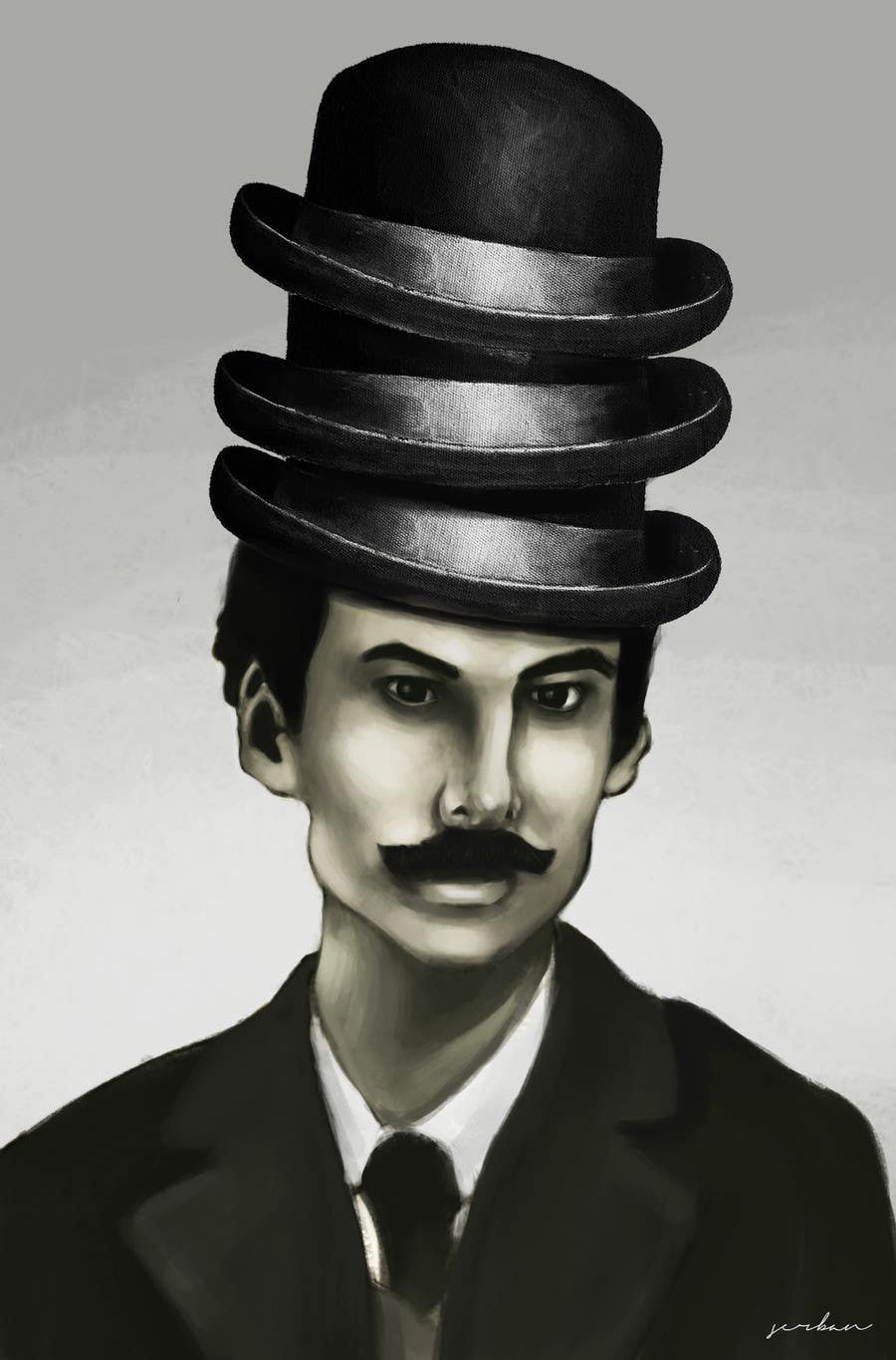 Konkurrenceindlæg #                                        6                                      for                                         Create a Portrait Drawing of a late 19th Century Man wearing Multiple Bowler Hats