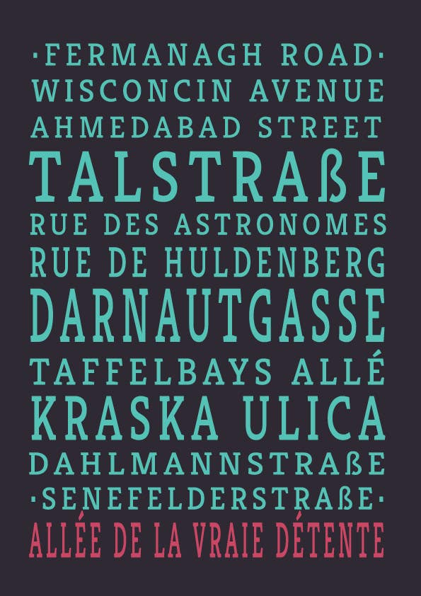 Contest Entry #21 for Clean, simple text based poster for printing: Street names using nice fonts