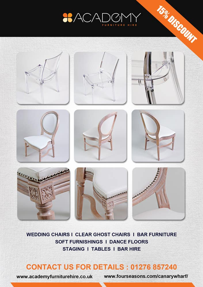 "Konkurrenceindlæg #                                        12                                      for                                         Wedding Show ""Product & Discount Flyer"" - Academy Furniture Hire"