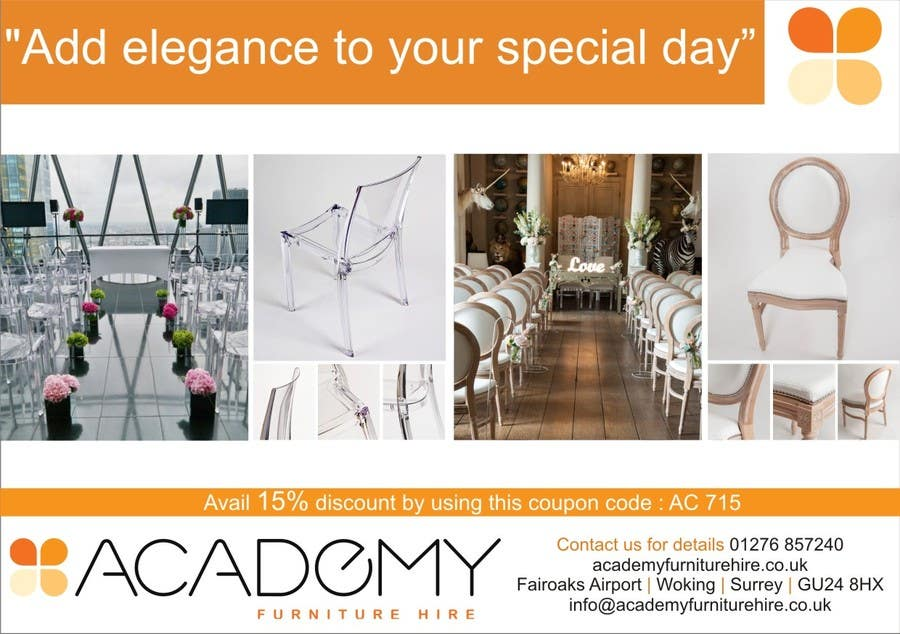 "Konkurrenceindlæg #                                        7                                      for                                         Wedding Show ""Product & Discount Flyer"" - Academy Furniture Hire"