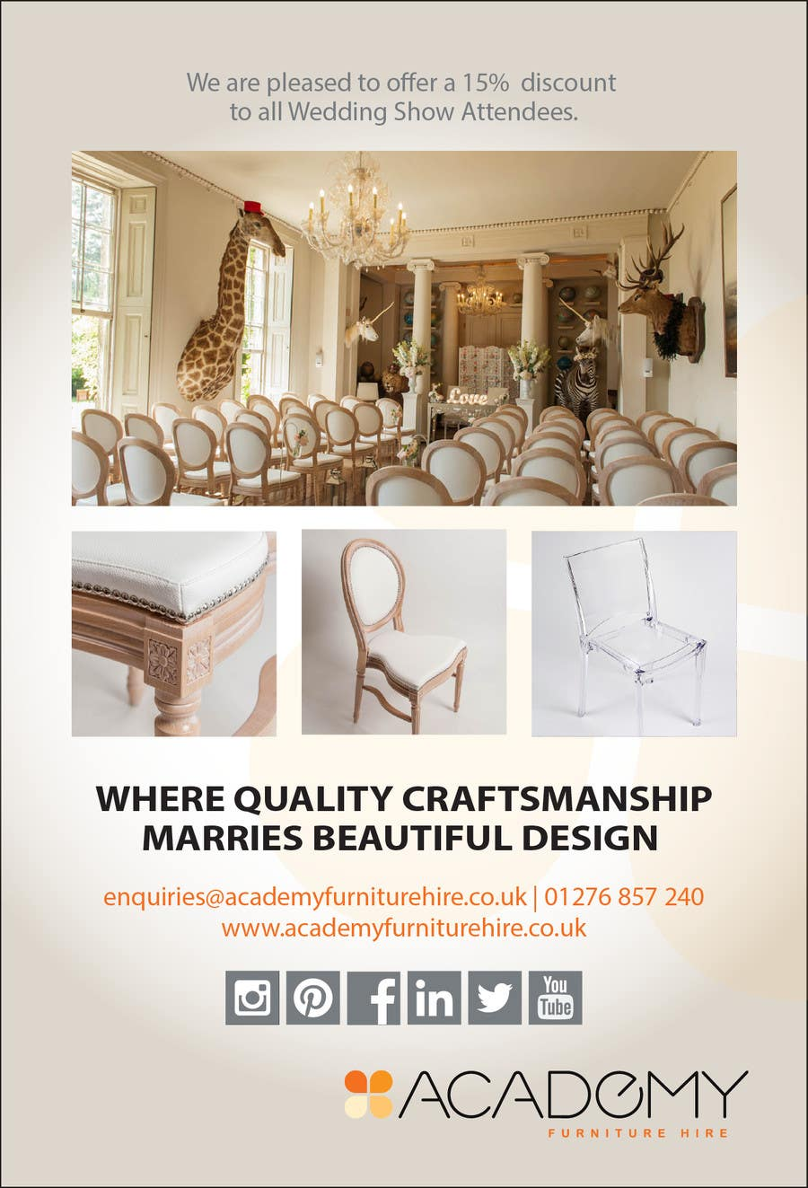"""Konkurrenceindlæg #                                        13                                      for                                         Wedding Show """"Product & Discount Flyer"""" - Academy Furniture Hire"""