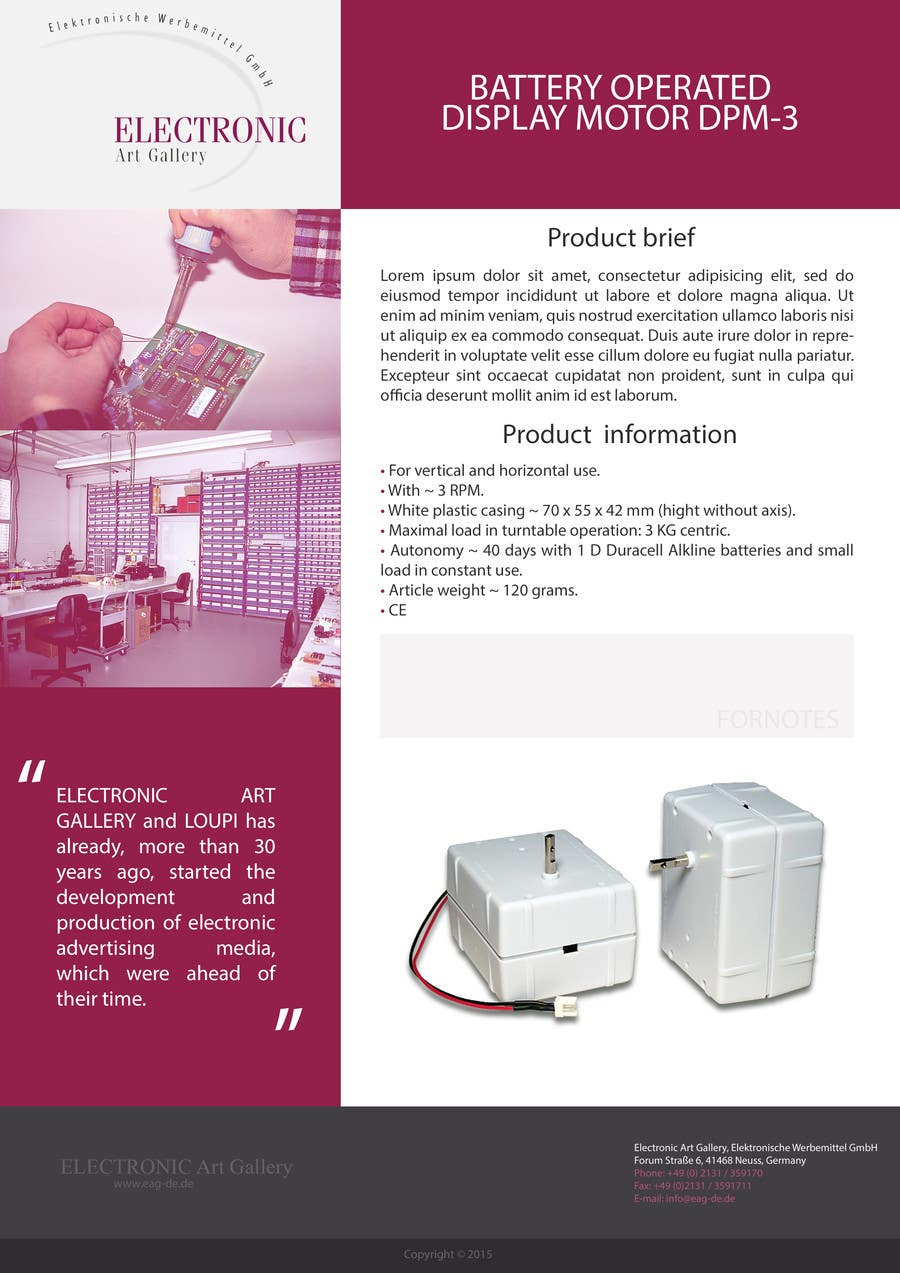 Entry #8 by skanone for Design Template for technical data sheet ...