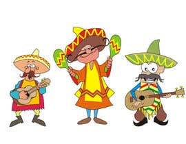 #6 untuk Illustration of 3 Cartoon Mexican Guys oleh aarpum18