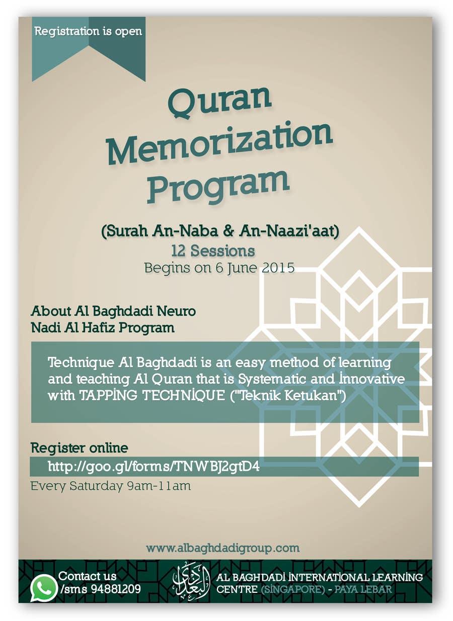 Kilpailutyö #4 kilpailussa Design a Flyer for Al Quran Memorisation Program