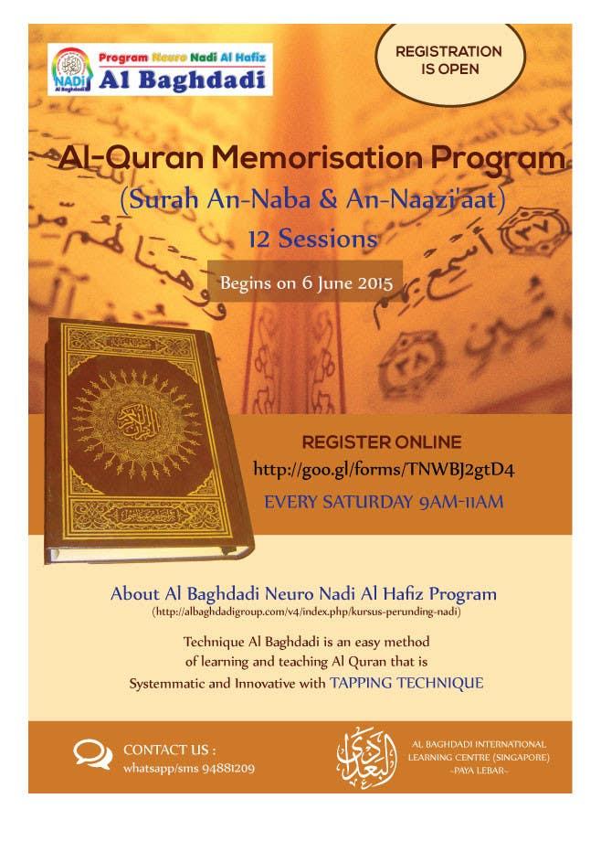 Kilpailutyö #10 kilpailussa Design a Flyer for Al Quran Memorisation Program