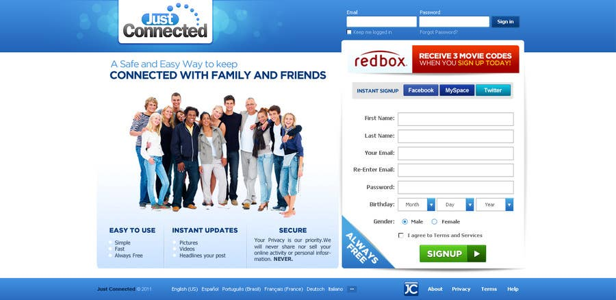 Natečajni vnos #                                        65                                      za                                         Graphic Design for Social Network Website sign up page