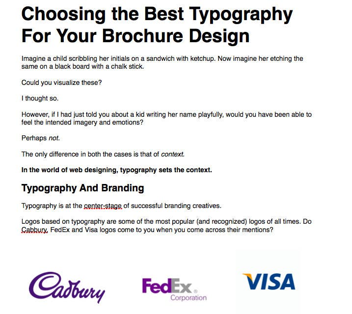 "Penyertaan Peraduan #17 untuk Write an article about ""Choosing the Best Typography For Your Brochure Design"""