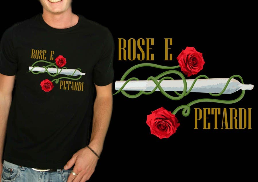 """Contest Entry #8 for disegnare una T-Shirt for a song: """"Rose e petardi"""""""