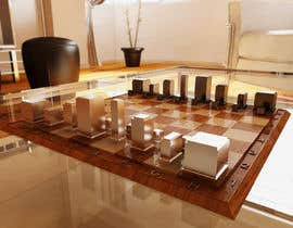 #50 para Photo Realistic 3D Rendering of a minimalistic chess board on top of a surface. por giarilham