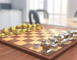 #29 para Photo Realistic 3D Rendering of a minimalistic chess board on top of a surface. por shubhrajyotiray