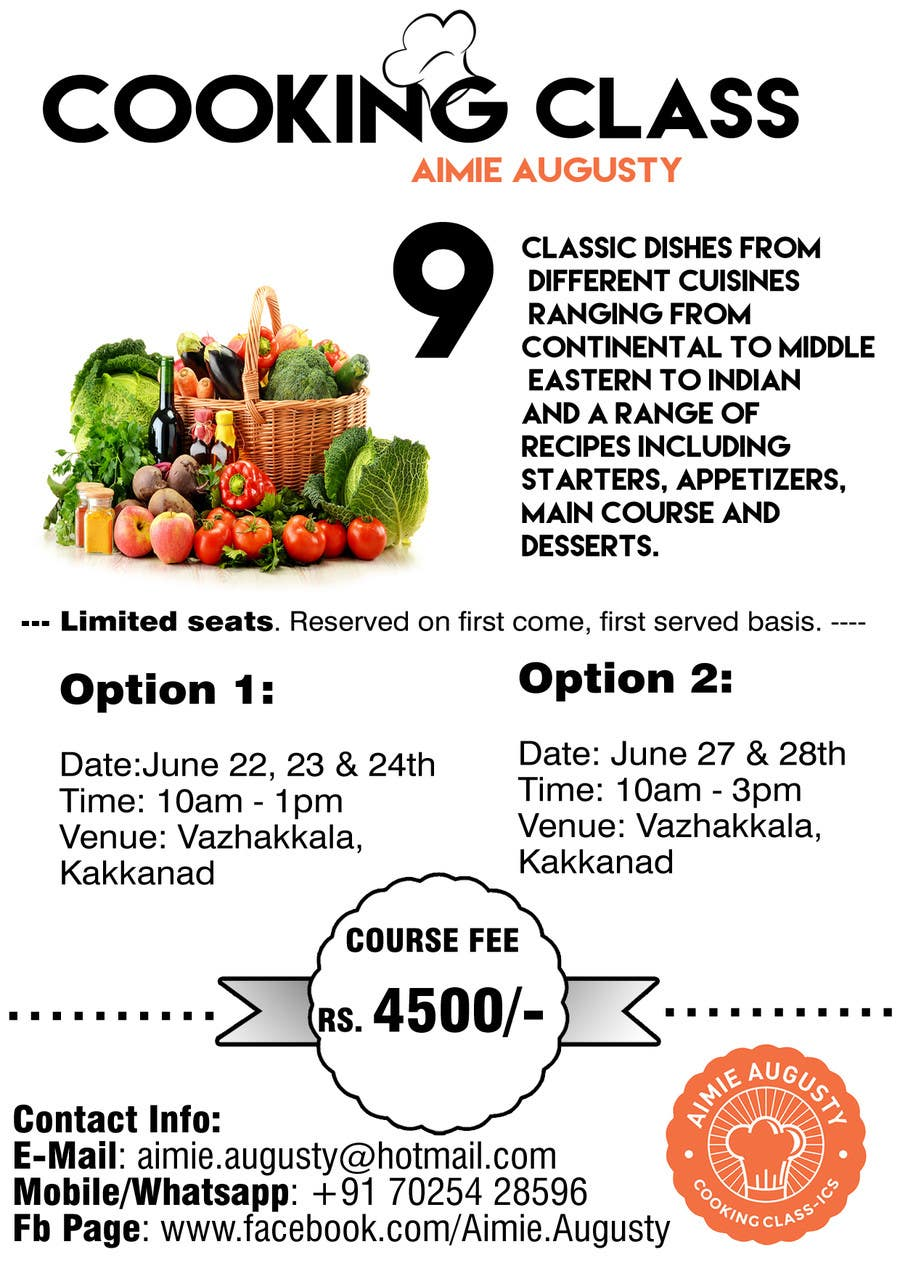 Kilpailutyö #17 kilpailussa Design a Flyer for Cooking Class
