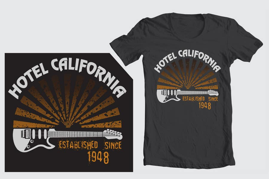 Entri Kontes #                                        82                                      untuk                                        Vintage T-shirt Design for HOTEL CALIFORNIA
