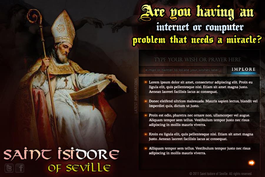 Entri Kontes #21 untukGraphic Design for One page web site for the Saint Of the Internet: St. Isidore of Seville