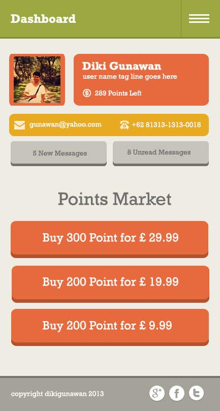 #10 for Design a set of HTML5 Mobile templates by dikigunawan
