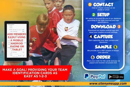 #7 for Design a 4x6 Flyer for Kids Soccer Club & Church identity cards af johanfcb0690
