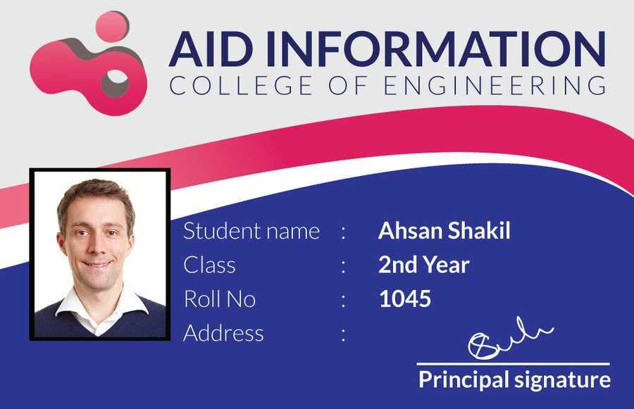 Entry #6 By Ahsandesigns For College Id Card Design | Freelancer