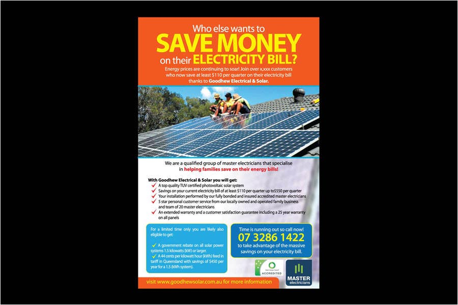 Contest Entry #                                        16                                      for                                         Advertisement Design for Goodhew Solar & Electrical