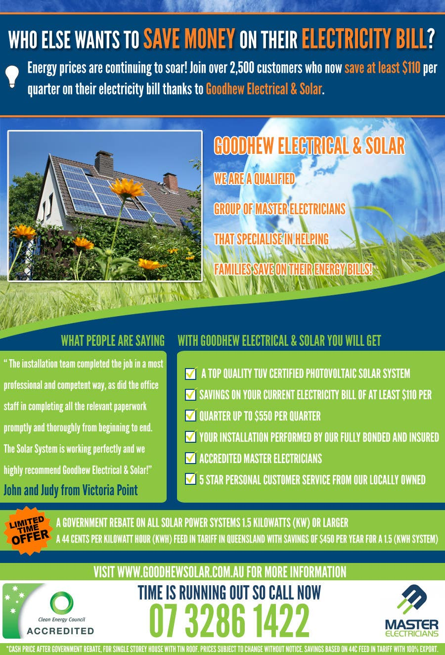 Contest Entry #                                        46                                      for                                         Advertisement Design for Goodhew Solar & Electrical