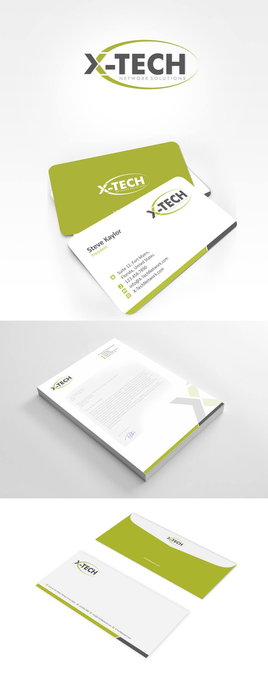 #45 for Develop a Corporate Identity for X-TechNetwork.com (Logo, Business Card & Letterhead) by ezesol