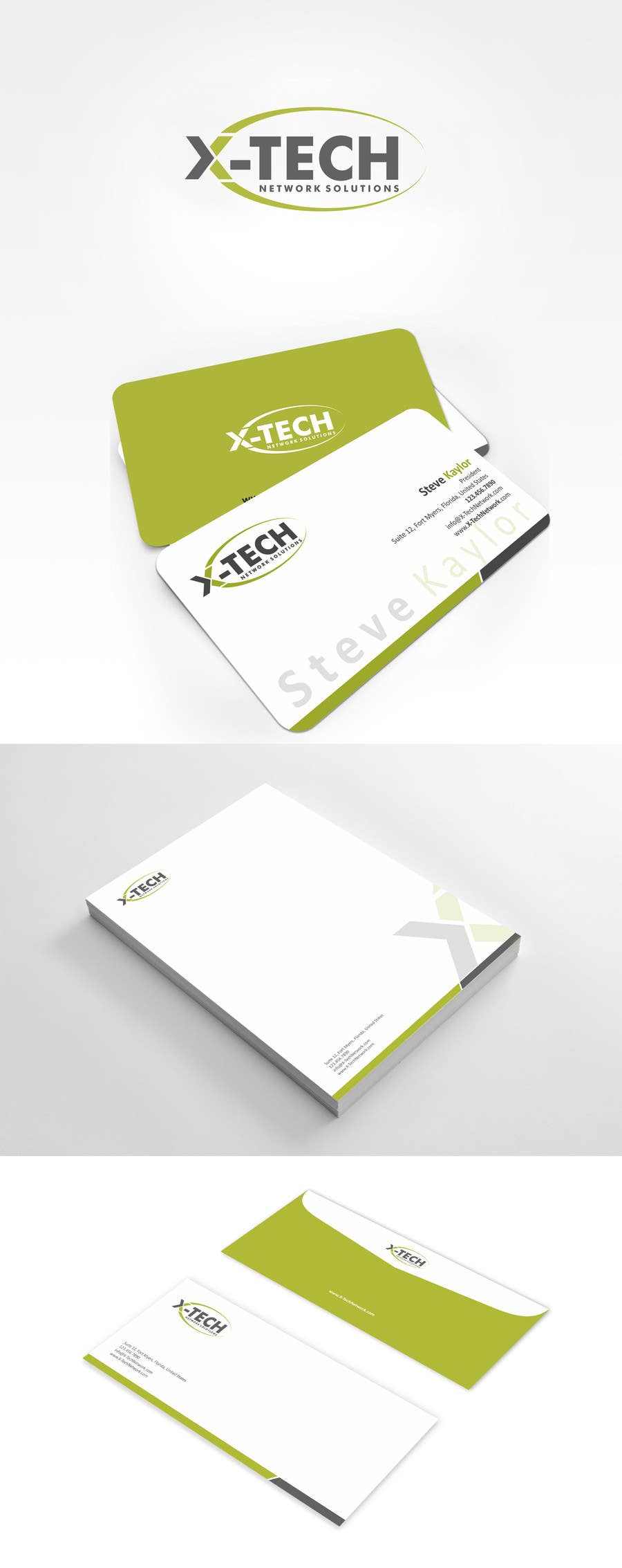 #54 for Develop a Corporate Identity for X-TechNetwork.com (Logo, Business Card & Letterhead) by ezesol