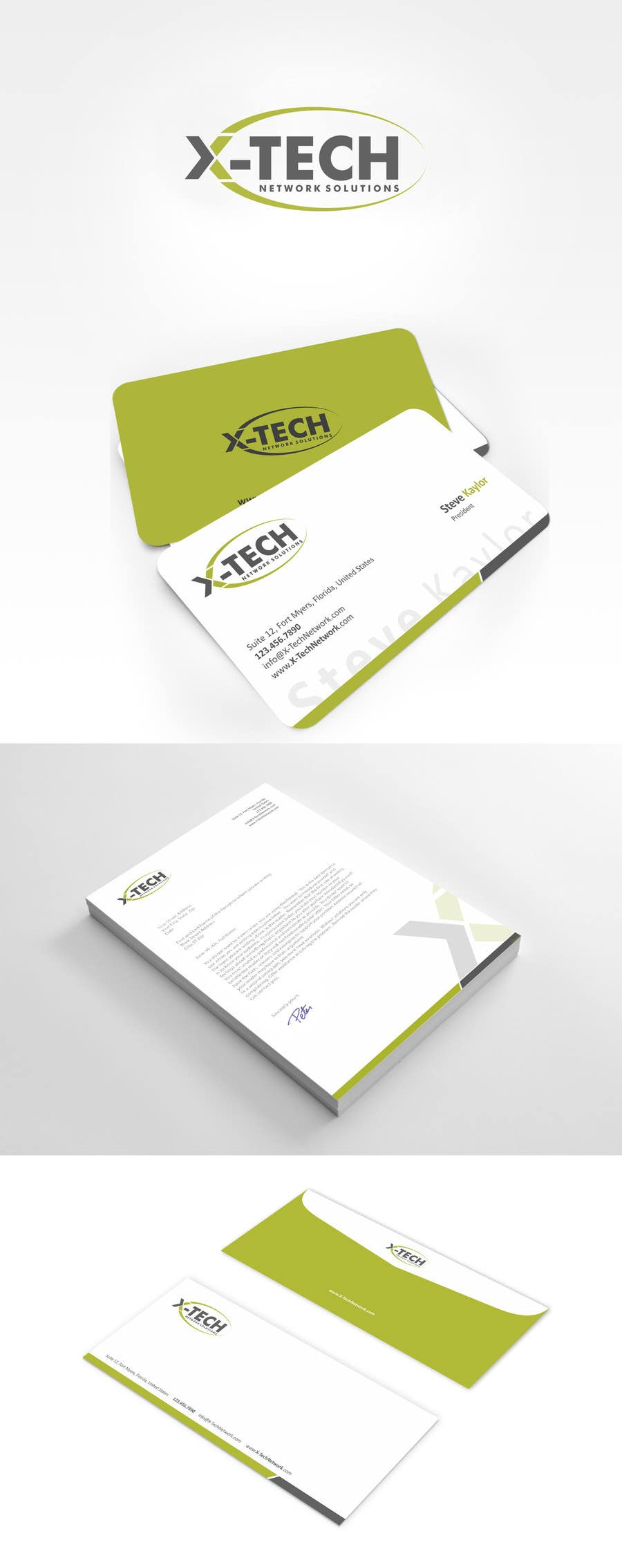 #55 for Develop a Corporate Identity for X-TechNetwork.com (Logo, Business Card & Letterhead) by ezesol