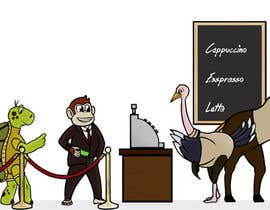 #71 para Cartoon animals queuing in a coffee shop por mykwago