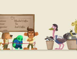 #64 para Cartoon animals queuing in a coffee shop por cocier