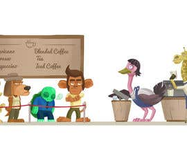 #67 for Cartoon animals queuing in a coffee shop af cocier
