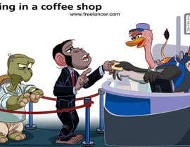 #70 para Cartoon animals queuing in a coffee shop por HelberSoares