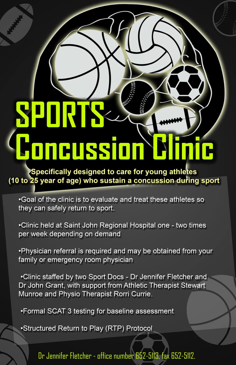 Bài tham dự cuộc thi #13 cho Design a Flyer for Sports Concussion Clinic