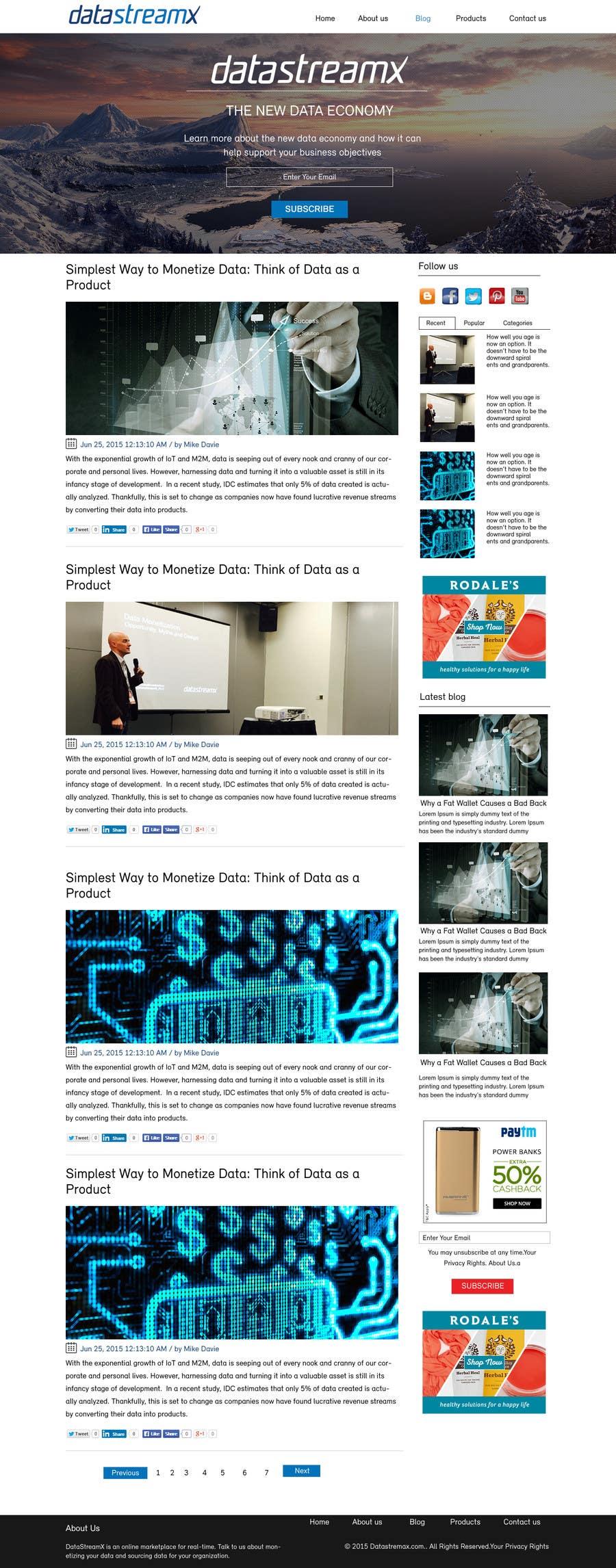 Penyertaan Peraduan #1 untuk Design a Website Mockup for Blog & Landing Page Template