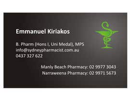 #8 pentru Business Card Design for retail pharmacist based in Sydney, Australia de către rwijaya