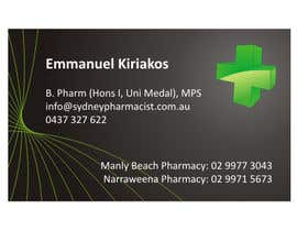 rwijaya tarafından Business Card Design for retail pharmacist based in Sydney, Australia için no 90